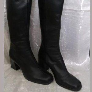 NINE WEST Black Leather Side Zip Knee High Fashion